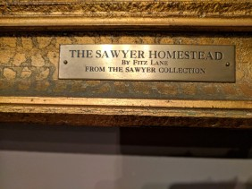 Frame plaque detail for Fitz Henry Lane painting Sawyer Homestead Freshwater Cove Gloucester MA ©C Ryan_125518