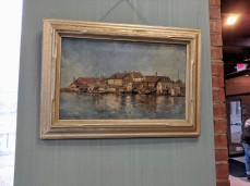 Installation View CARLTON THEODORE CHAPMAN Gloucester Harbor painting Sawyer Free Public Library ©C Ryan IMG_111321
