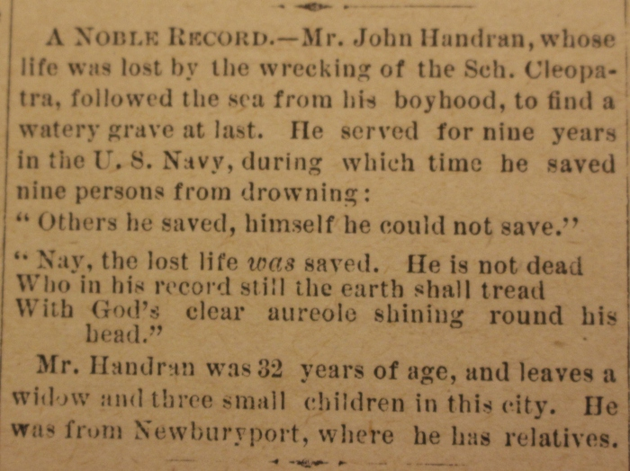 John Handran death Cape Ann Advertiser Jan 1 1886