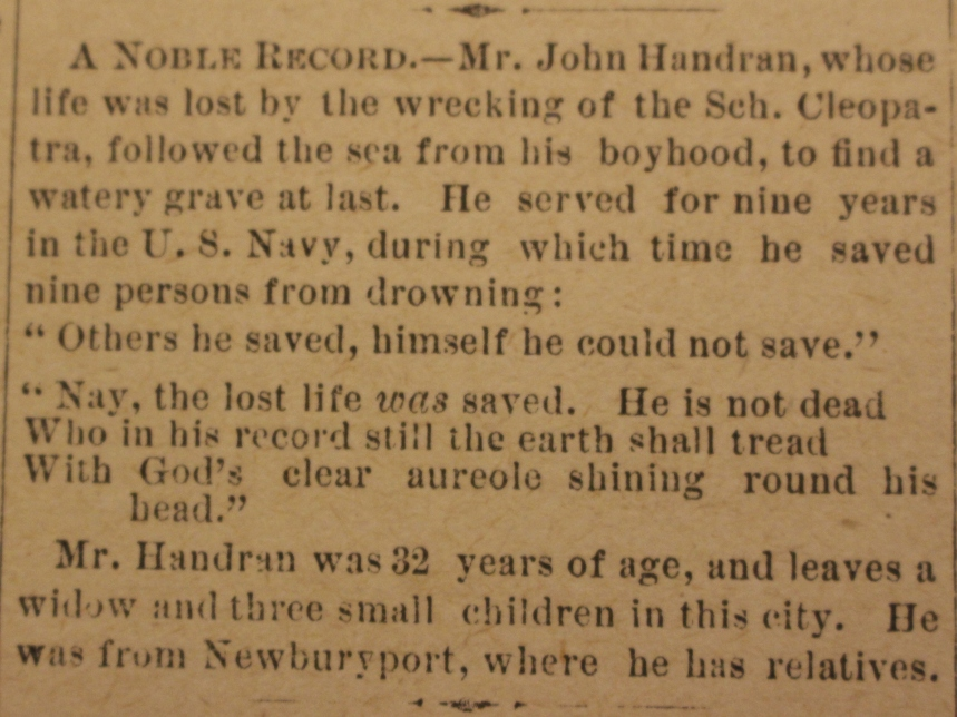John Handran death Cape Ann Advertiser Jan 1 1886