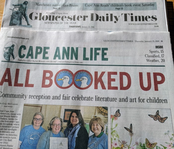 All Booked Up spotlight Cape Ann Reads Celebration by Gail McCarthy for Gloucester Daily times January 25 2018.jpg