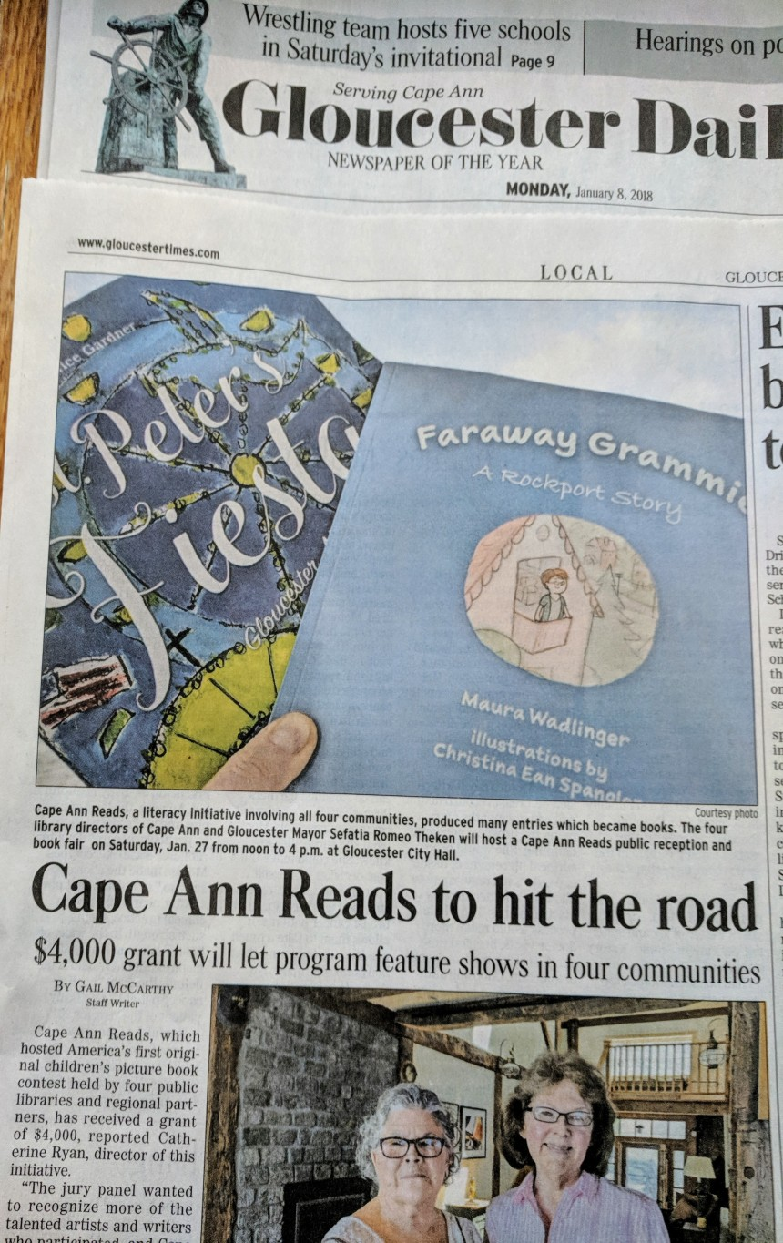 Gail McCarthy Gloucester Daily Times announcing Bruce J Anderson grant award for Cape Ann Reads January 8 2017