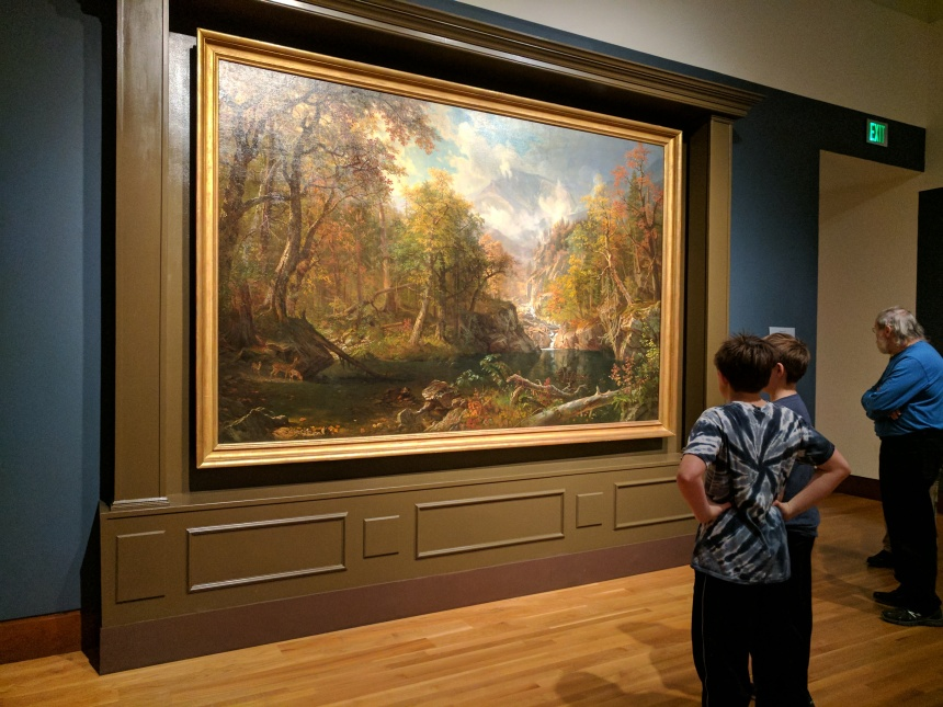 Installation view ALBERT BIERSTADT The Emerald Pool Currier Museum of Art Mount Washington exhibit January 2017 © c ryan.jpg