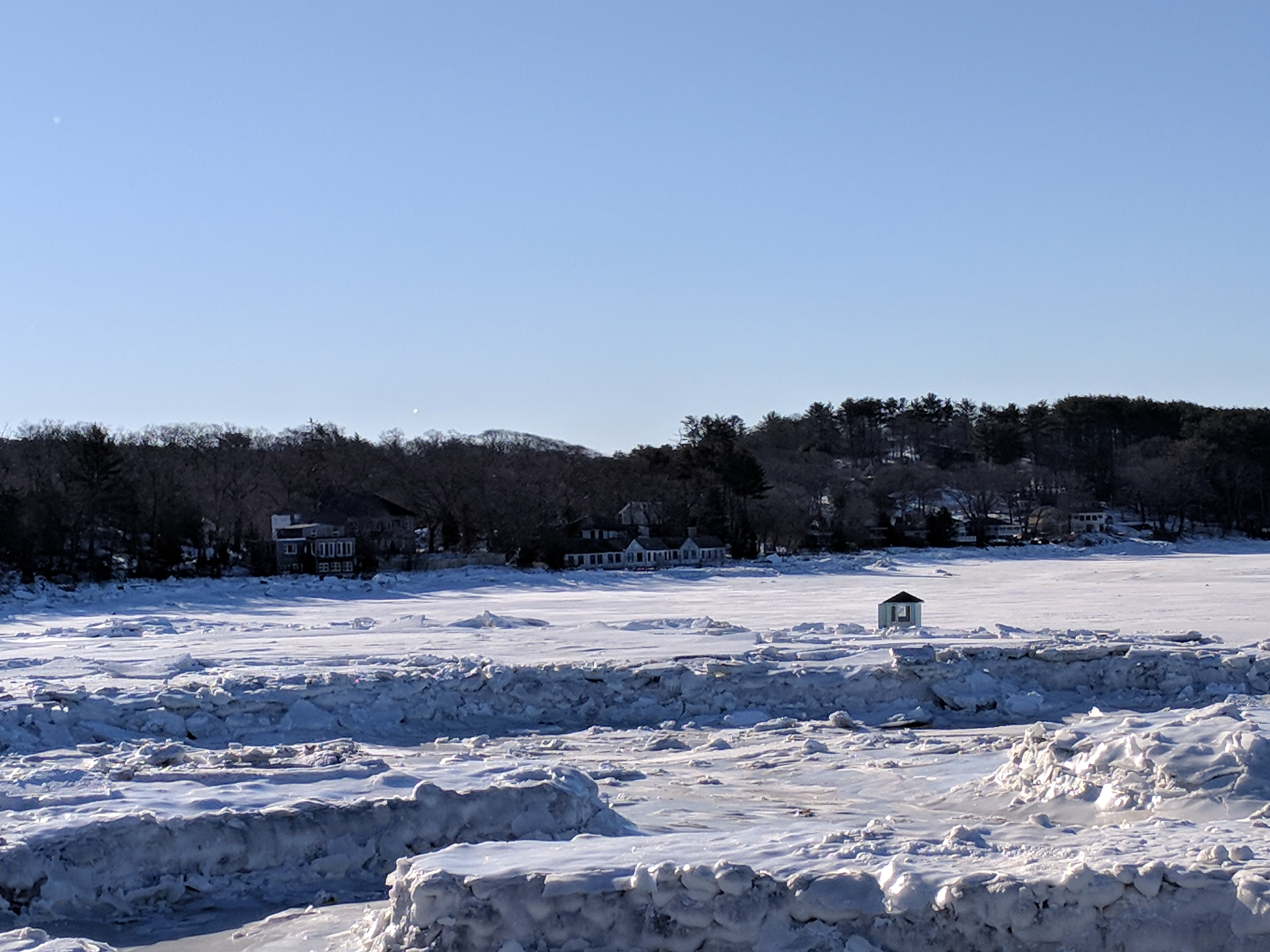 Little house boat in the great frozen salt marsh - Gloucester MA January 7 2018 three days after historic winter storm © c ryan_095245