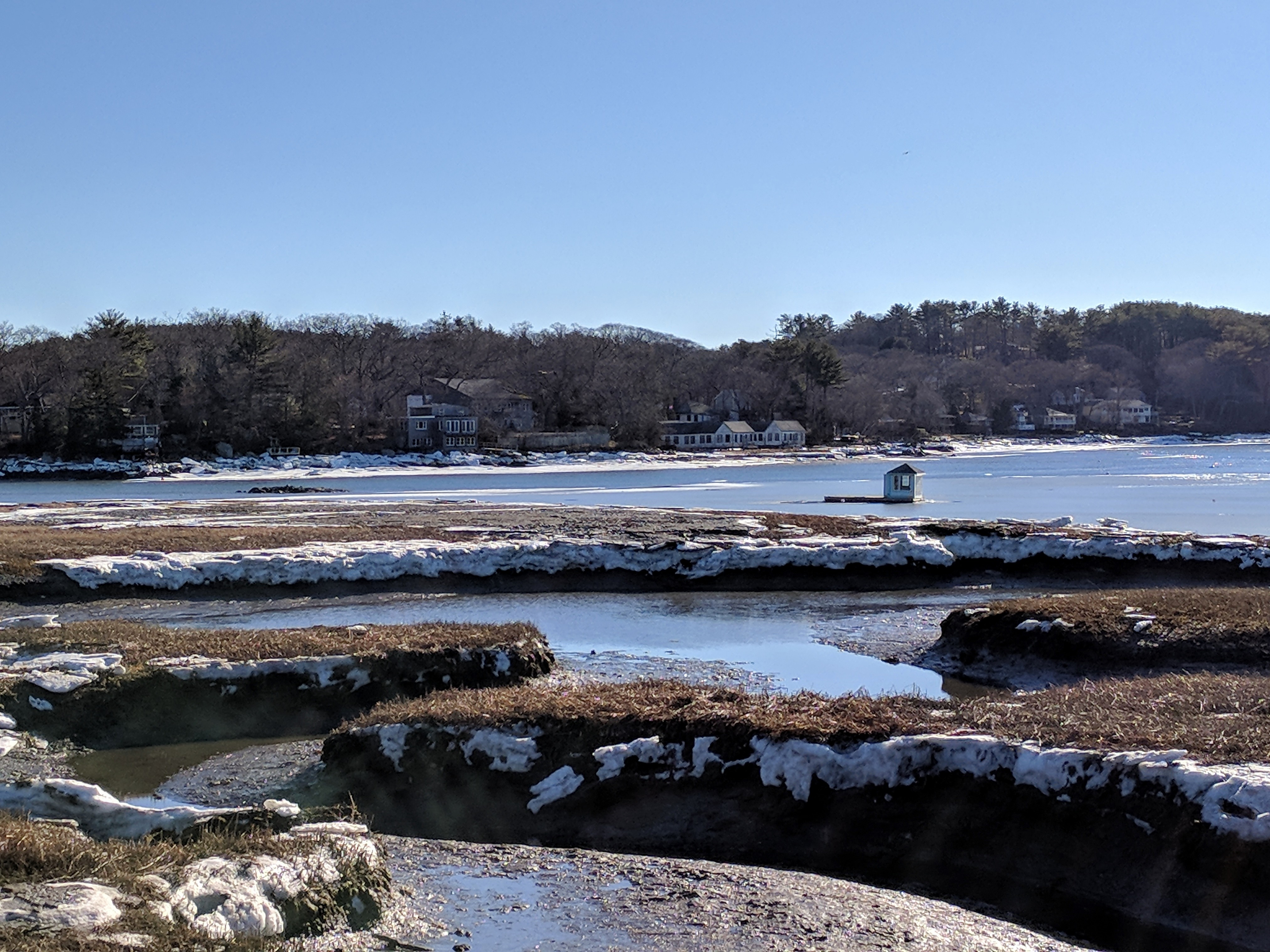 Little house boat in the great salt marsh - Gloucester MA January 13 2018 after thaw from historic winter storm © c ryan__133100