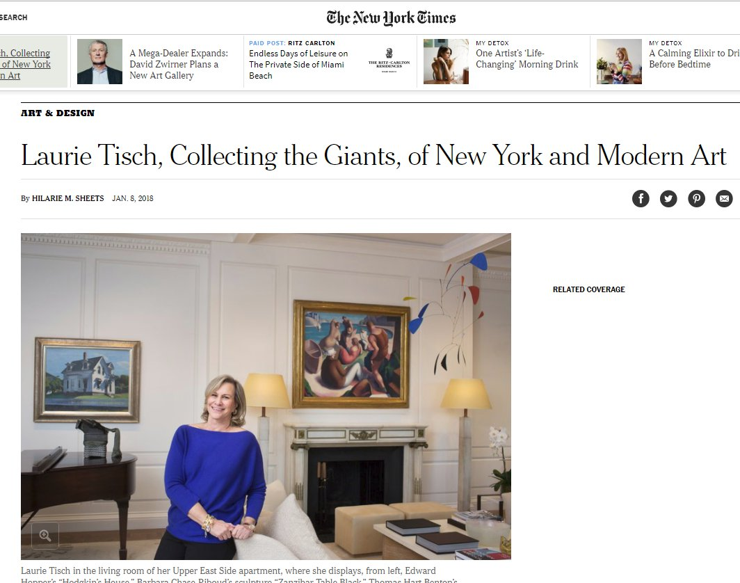 New York Times Jan 8 2018 Laurie Tisch Edward Hopper Hodgkins House prior owner was David Geffen