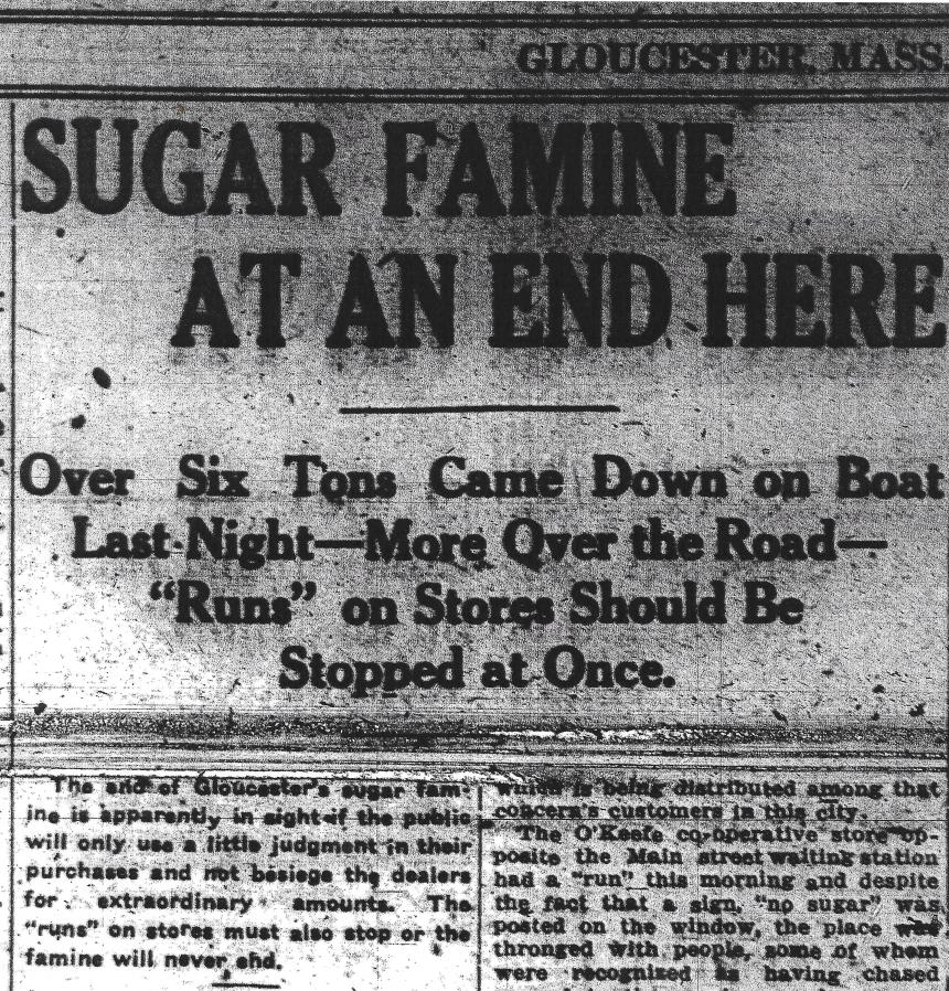 Sugar Famine at an End Here