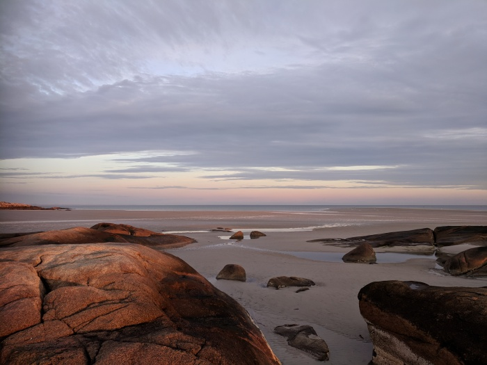 WINTER sunrise Wingaersheek Beach Gloucester MA boulders low tide looking to Annisquam Lighthouse©c ryan _20180121_072057