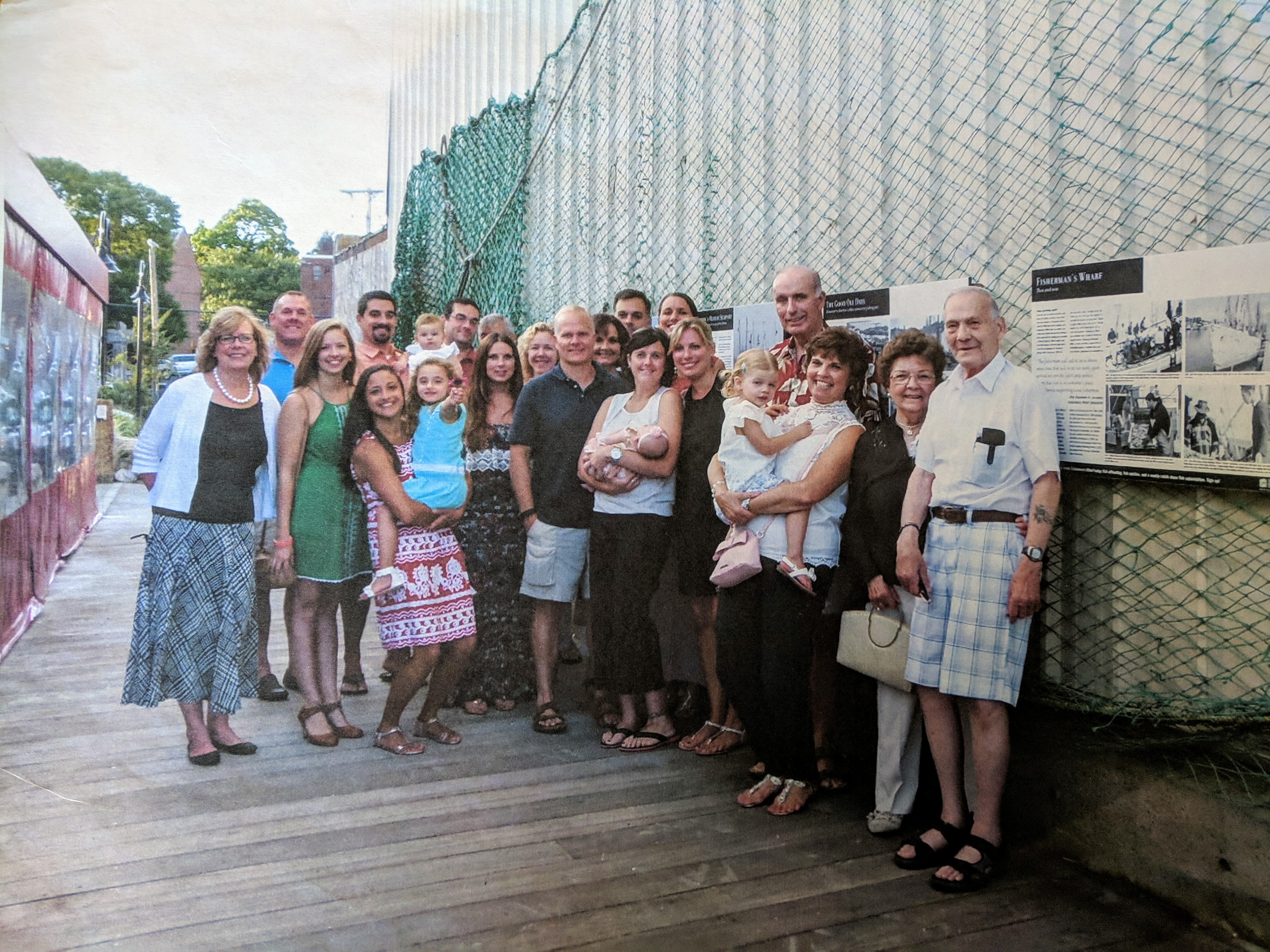 2015 Manny and Joanna Carrancho, Trib and Ken Joyce and extended family visiting from VA and elsewhere for reunion stop at the HarborWalk exhibition Fishermans Wharf  to see manny panel.jpg