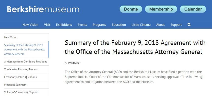 Berkshire Museum summary of agreement filed with MA AGO to Single Justice