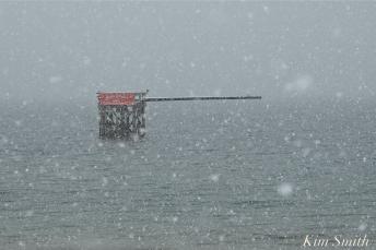 Greasy Pole Gloucester MA Snowy Day copyright Kim Smith