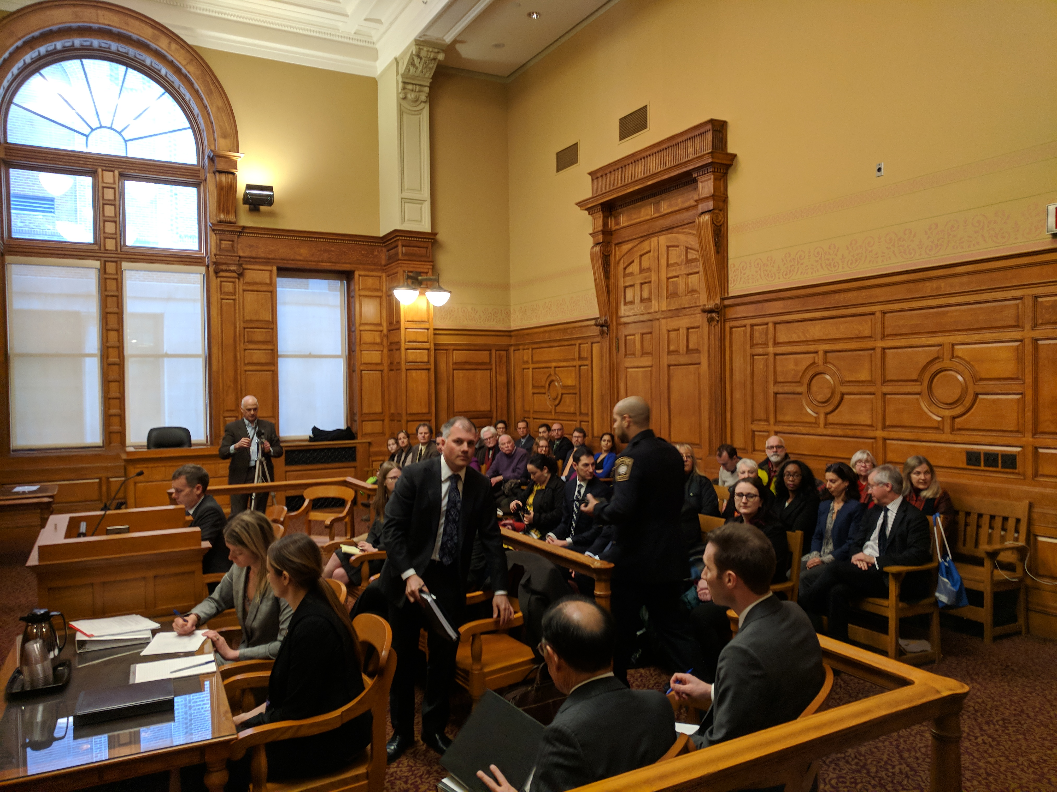 COURTROOM FILLING BEFORE START -Boston MA John Adams Courthouse ...