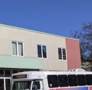 Juni Van Dyke director of art programs at Rose Baker Senior Center detail of windows by art classrooms