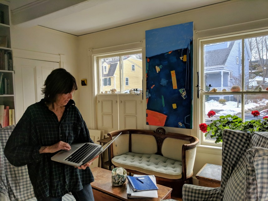 Juni Van Dyke discusses her Rose Baker Senior Center mural project ©c ryan March 2018 (2)