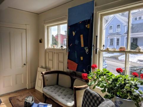 Juni Van Dyke painting geraniums at home and at work ©c ryan