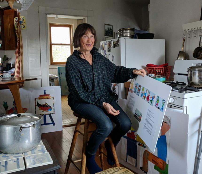 Juni Van Dyke working on new mural project for Rose Baker Senior Center