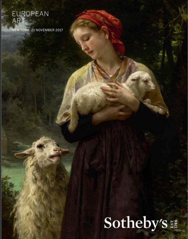 x Bouguereau LOT 18 Berkshire Museum Bouguereau featured on the cover of the Sotheby's catalogue 70 lots Nov 21 sale L'Agneau Nouveau-Ne THE NEWBORN LAMB oc 65 x 34 est 1500000 to 2mil