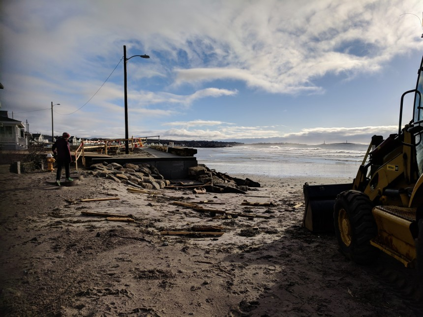 detritus new stairs at Gloucester MA Long Beach entrance- Morning low tide reveals damage from yesterday's spring storm _©c ryan april 17 2018 _ 072904 (2)