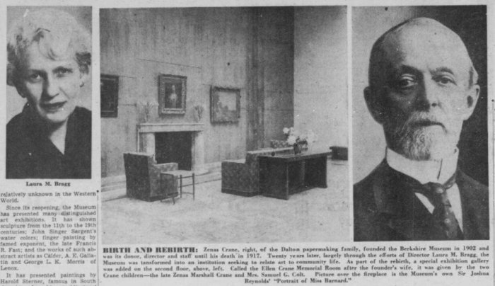 laura Bragg Zenas Crane Ellen Crane Memorial Room BERKSHIRE MUSEUM 1953 article