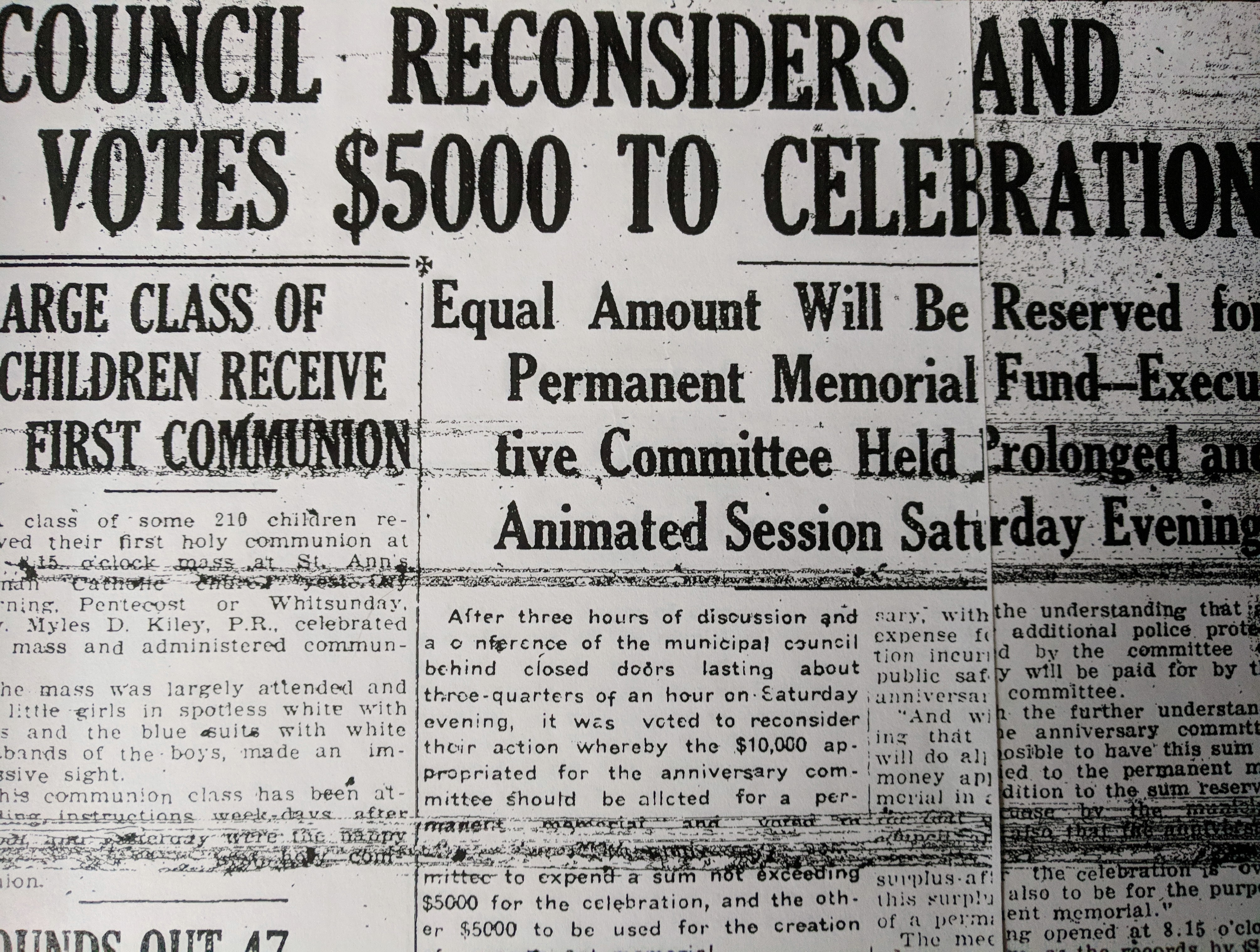 May 1923 Gloucester Daily Times covers down to the wire plans tercentenary Gloucester Mass.jpg