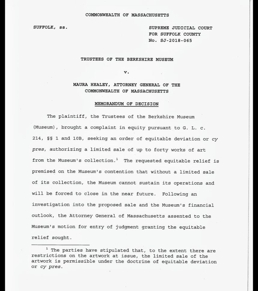 page 1 MEMO OF UNDERSTANDING Justice Lowy Berkshire Museum and AGO April 5 2018