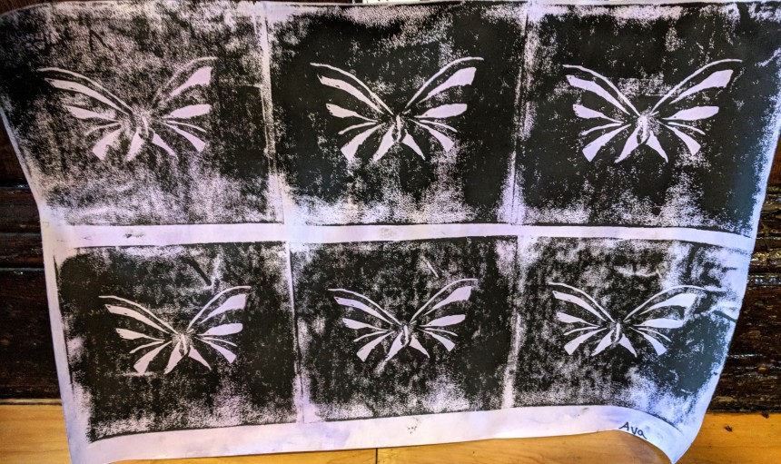 AVA - inaugural linocuts on historic Folly Cove press-teachers Brett Dunton Mary Rhinelander -GPS arts festival - City Hall Gloucester Ma - O'Maley school student art_May 12 2018 ©c ry