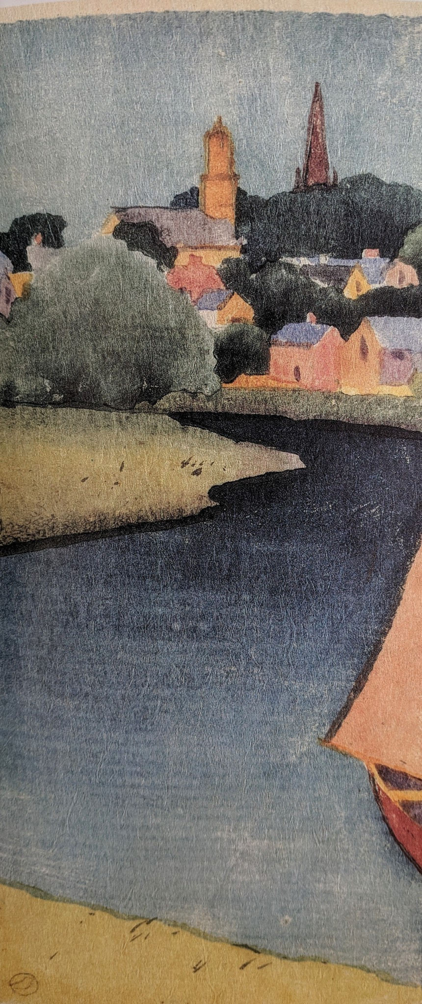 Dow detail view in ipswich color woodblock print