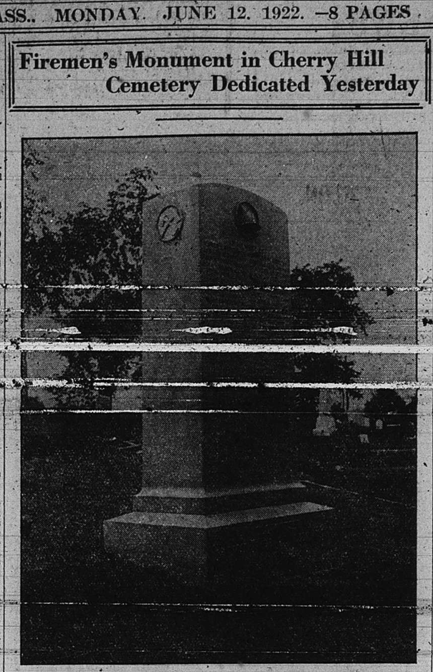 Cherry Hill Firemen's Monument dedicated GDT June 12 1922