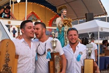 Saint Peter's Fiesta Sunday Closing Ceremony 2018 Greasy Pole Champs Miachael Sanfilippo, Randy Sweet, Frankie Taormina -2 copyright Kim Smith copy