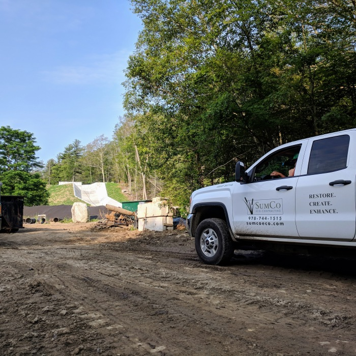 2018 July 2 Haskells Pond Dam reconstruction Gloucester Massachusetts Department of Public Works directing SumCo_ photograph ©c ryan (7)