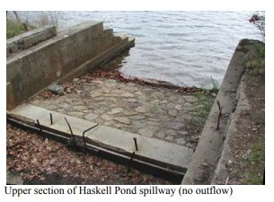BEFORE photo_Haskells pond dam before 2018 reconstruction_courtesy photograph ca2015_Gloucester Massachusetts Department of public works