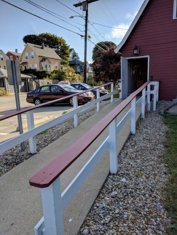 improvised gravel border solution_no budget flowers_Major Fred W Ritvo Veterans Center_Cape Ann Veterans Services_ Gloucester Massachusetts_20180831_© c ryan