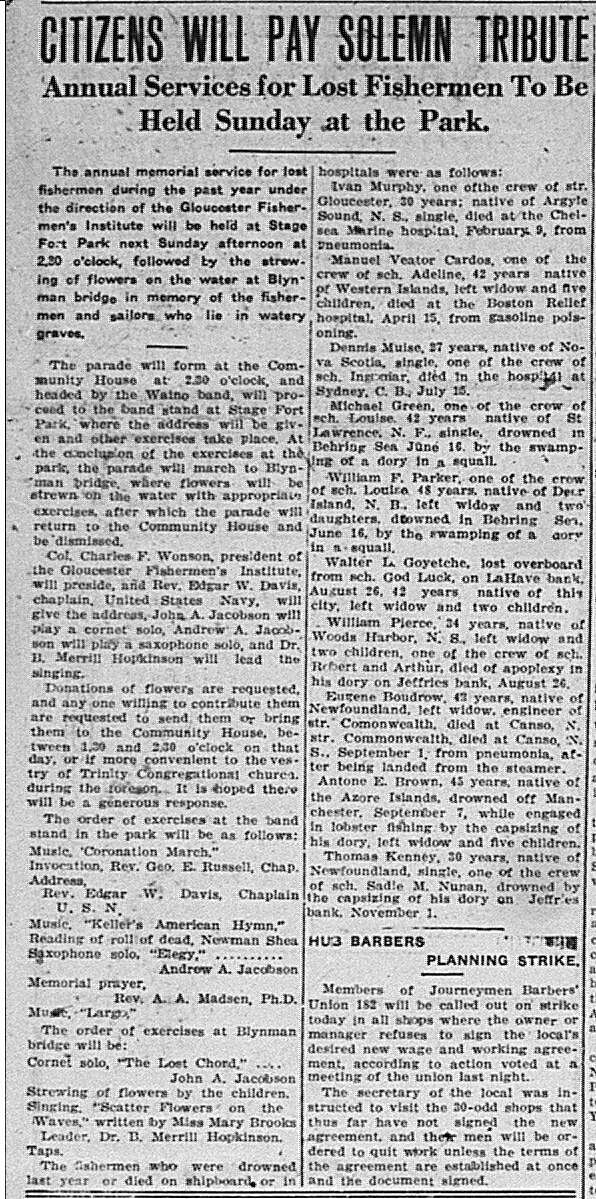 Lost Fishermen annual service GDT Aug 171921
