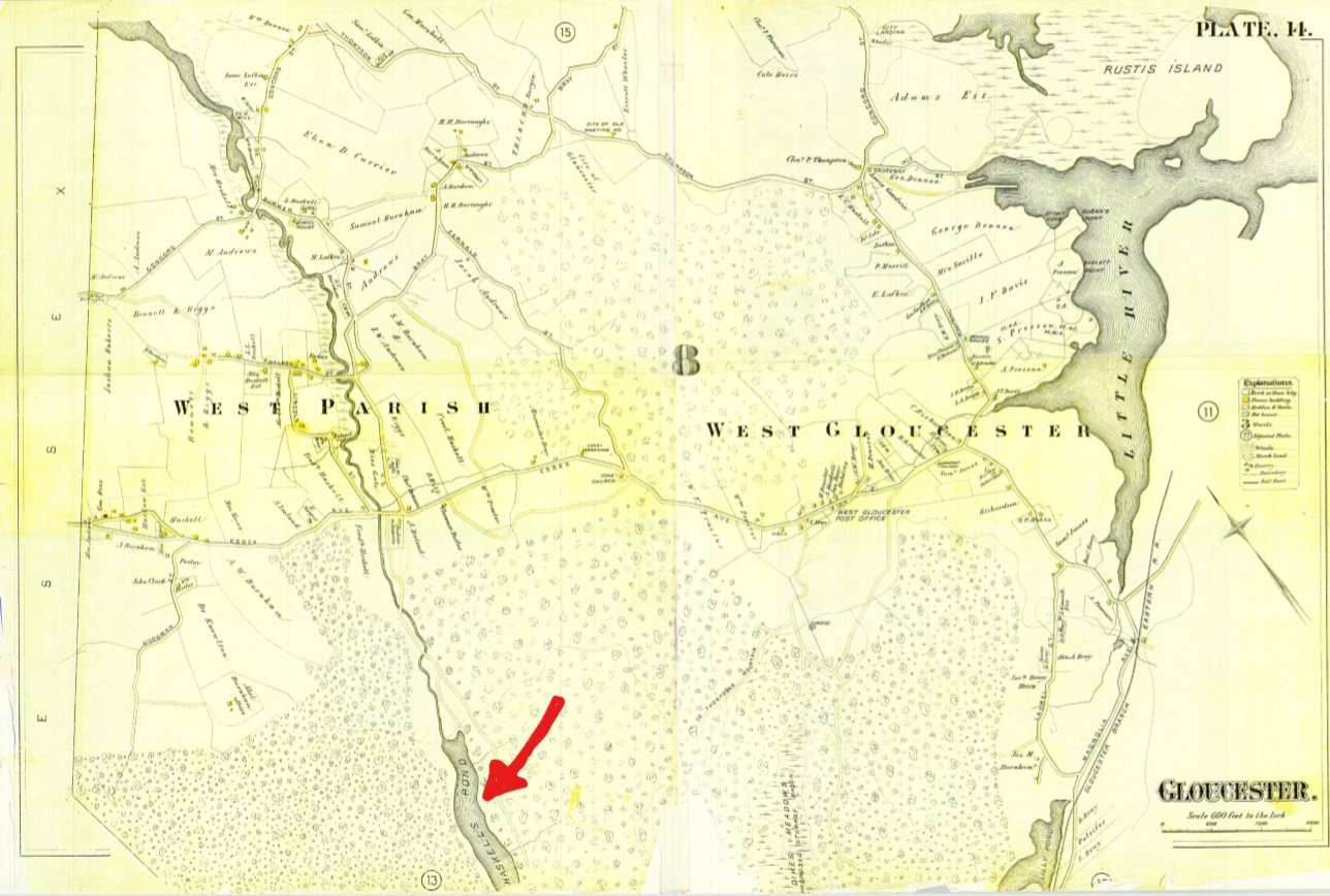Plate 14 West Gloucester showing Haskell's Pond_from Gloucester MA Dept Public Works archives