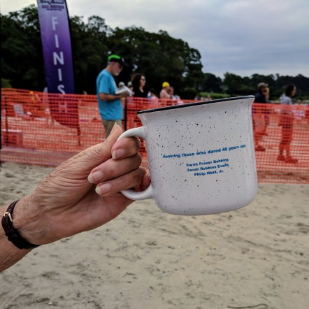 Sarah Robbins Evans cheers_Celebrate Clean Harbor Swim 40th anniversary_20180811_© c ryan