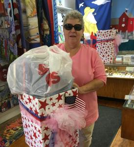 After reading notice on GMG Jill stopped by with donations for women in active duty drive box at Paulines Gifts Gloucester Mass 2018