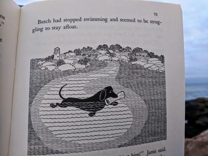 butch Petes dog_LOUISE KENYON_stellar linocut illustrations for Driftwood Captain by Paul B Kenyon 1956