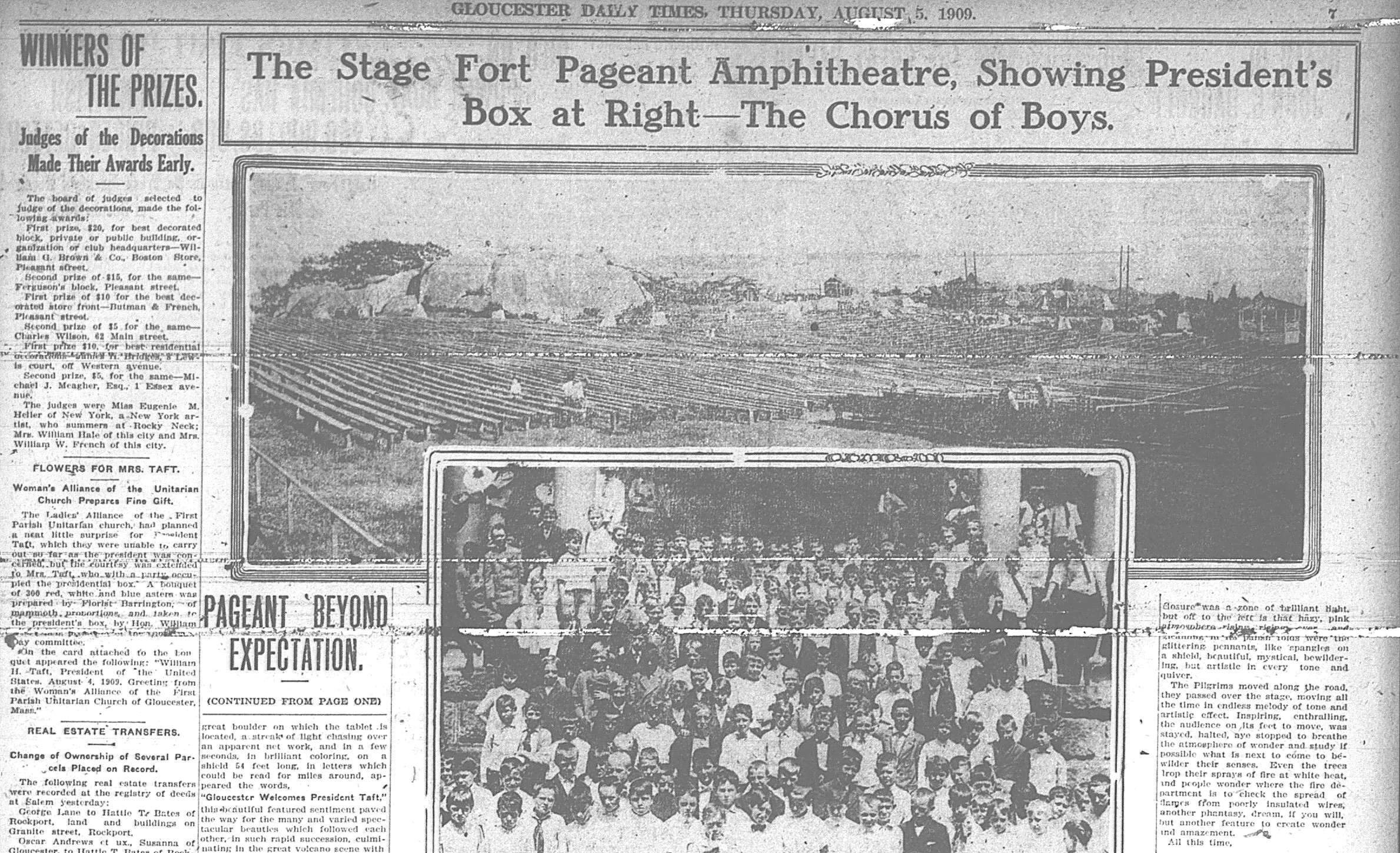 coverage about 1909 pageant Stage Fort Park Gloucester Ma
