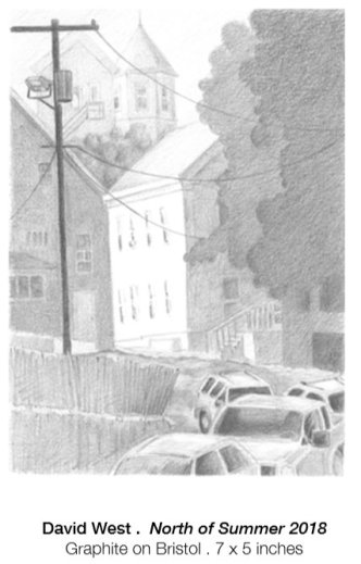 David West North of Summer 2018 graphite on bristol drawing 7 x 5 inches exhibited at Jane Deering Gallery Sept 2018 Gloucester Mass