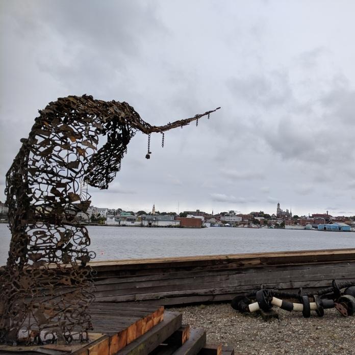 DEBORAH REDWOOD Goetemann Artist Residency Rocky Neck_2018 Sept 28_environmental installation artist_sculpture in progress fluke whale tail on site Ocean Alliance Gloucester MA©catherin