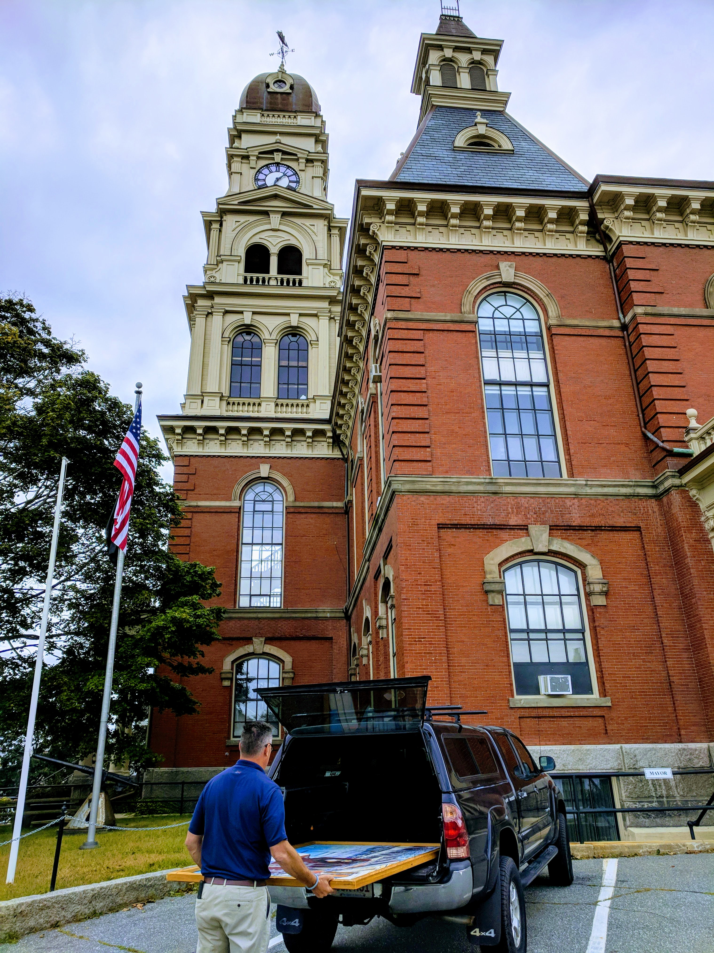 DPW rescue_Mike Hale KEN GORE back to City Hall after conservato repair necessary due to ill choice for wall label_ nasty epoxy migrated to painting surface_20180907_©c ryan.jpg