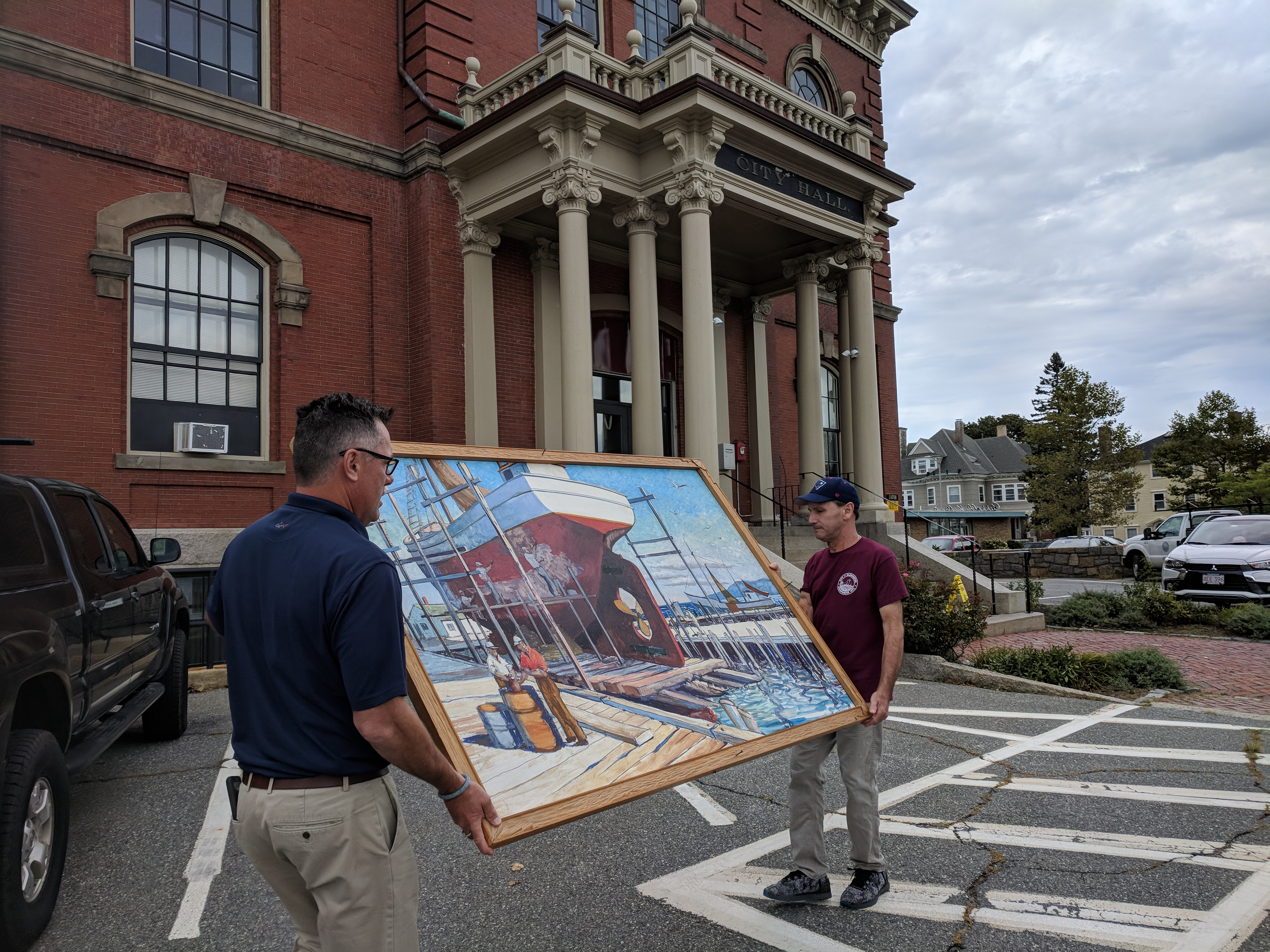 Mike Hale and Bobby return KEN GORE painting to City Hall after slight repair necessary due to ill choice for wall label_ nasty epoxy migrated to painting surface_20180907_©c ryan.jpg