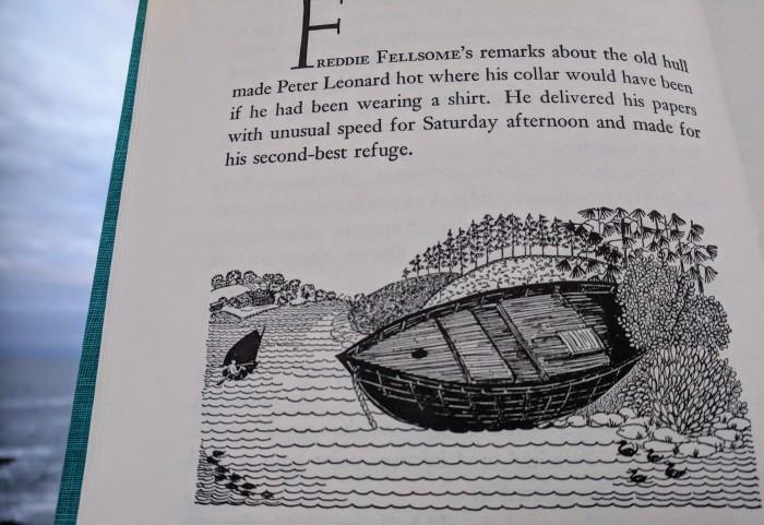 the old hull_LOUISE KENYON_stellar linocut illustrations for Driftwood Captain by Paul B Kenyon 1956