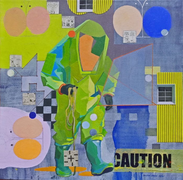 Whalen-Waller_Hazmat-Man 24x24oil&collage ROCKPORT ART ASSOC &  MUSEUM experimental group opens 9th show 2018.jpg