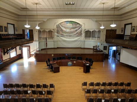 before - custodians Gloucester DPW prep Kyrouz Auditorium City Hall Gloucester ahead of floor sand and polish September 26 2018 ©c ryan (3)