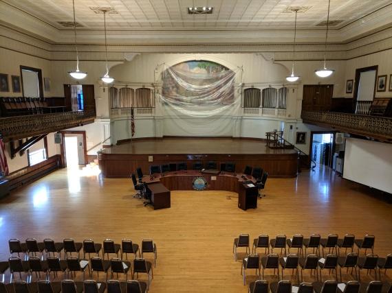 before - custodians Gloucester DPW prep Kyrouz Auditorium City Hall Gloucester ahead of floor sand and polish September 26 2018 ©c ryan (3)