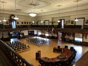 BEFORE_ Kyrouz Auditorium_City Hall_Gloucester MA_DPW preps to sand and buff the floors©c ryan (1)