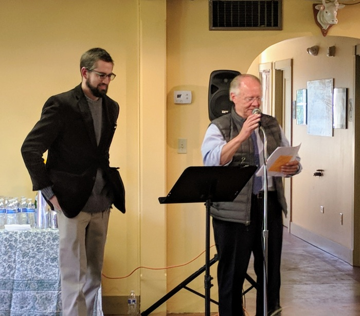 Chris Wagner president of community center and project manager_ ROSS Burton_ Virginia Lee Burton Writing Cottage opens_Lanesville Community Center_Gloucester MA_20181021_© c ryan