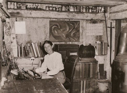 genius polymath VIRGINIA LEE BURTON_at her private studio_ note stove_Lanesville_Gloucester Mass_courtesy photo what a smile_studio rescued and relocated 2018 to Lanesville Community Cen