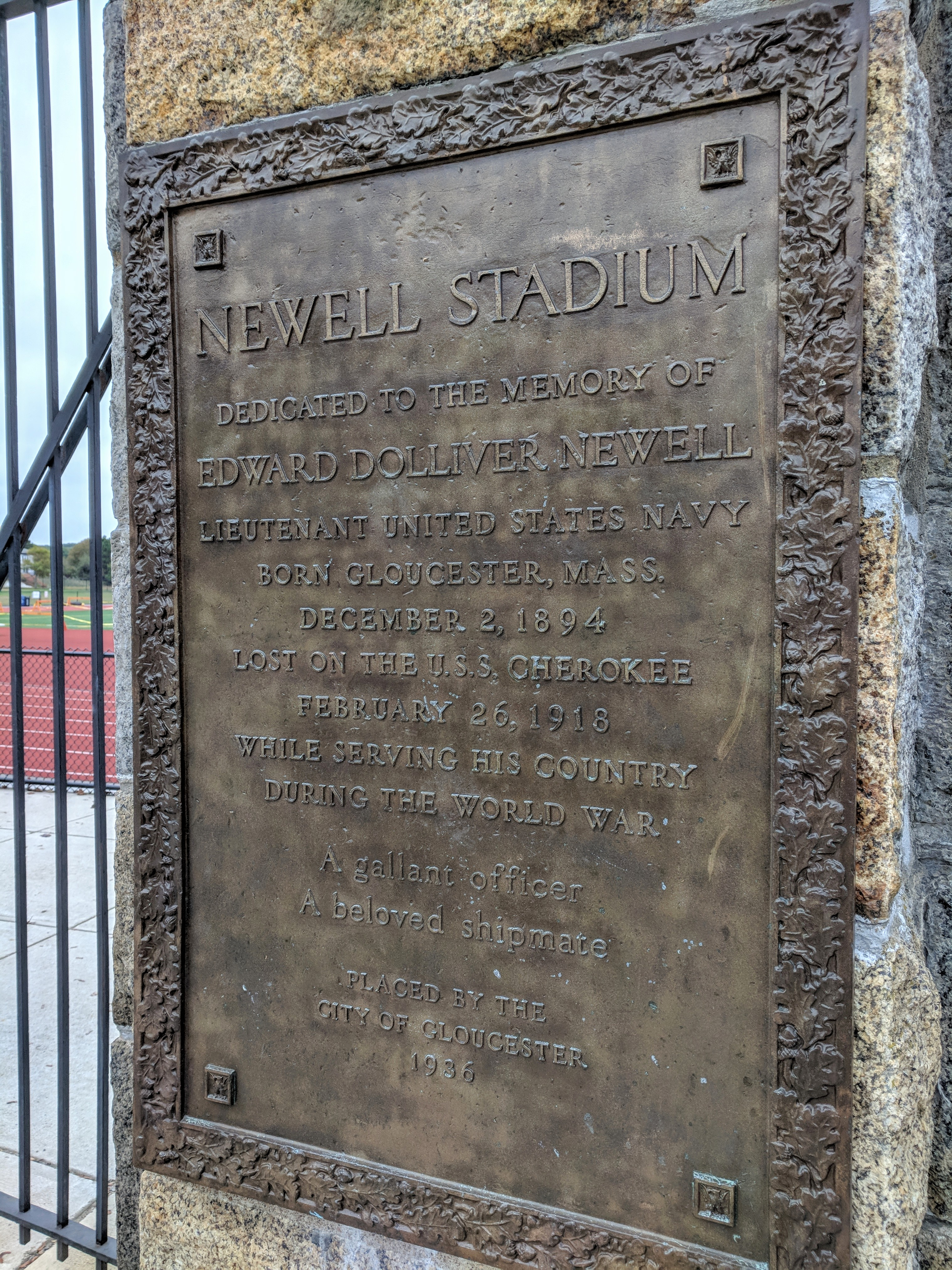 Gloucester High School New Balance Newell Stadium dedication plaque_20181008_©Catherine Ryan